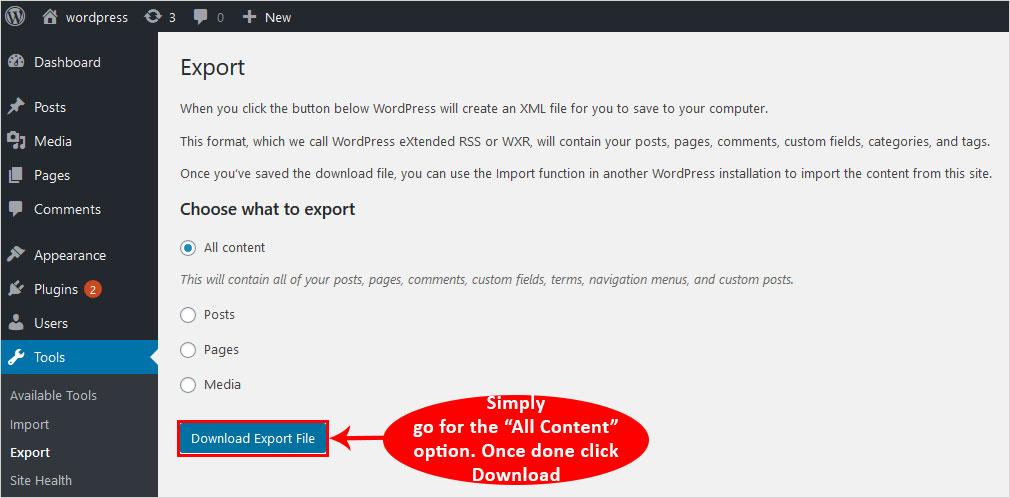 export blog website content