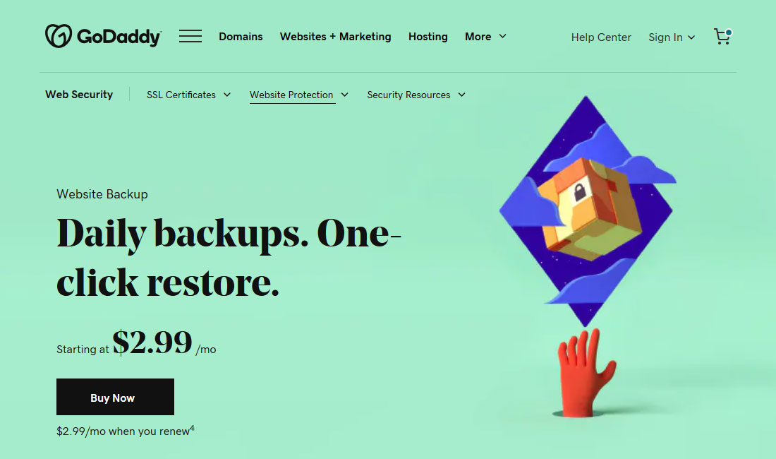 godaddy backup and restore