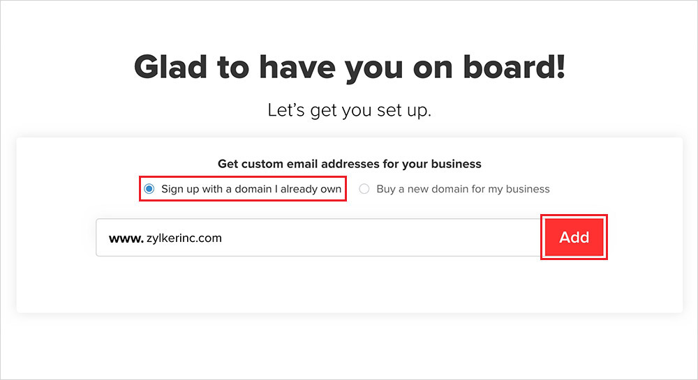 zoho sign with already have a domain