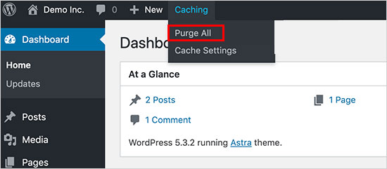 clear wordpress cache in Bluehost