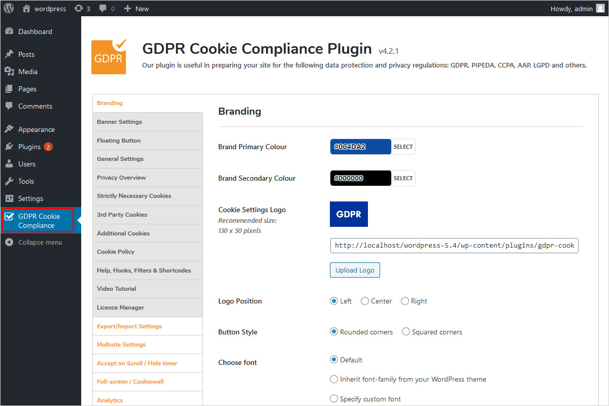 gdpr cookie compliance wordpress plugin settings