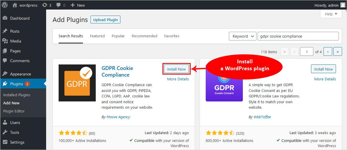 install gdpr cookie compliance wordpress plugin