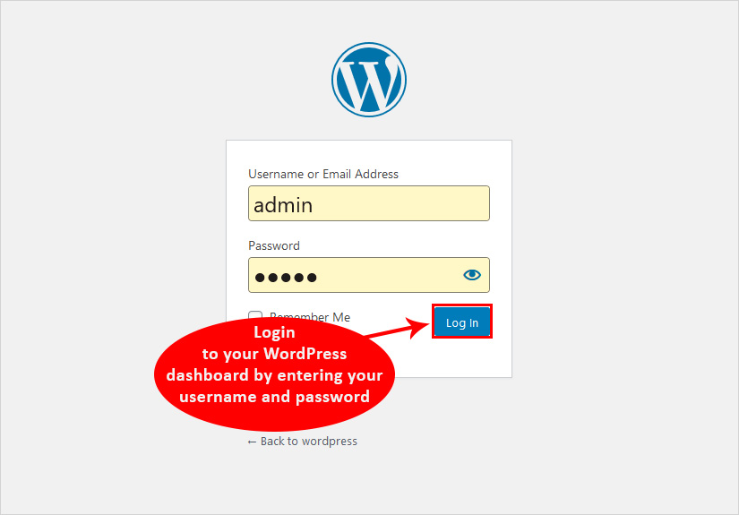 Change password in wordpress login to admin