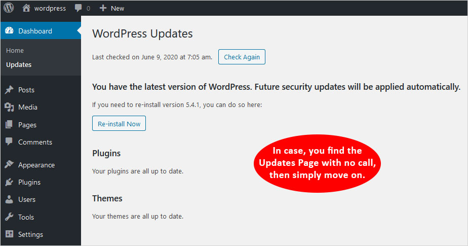 no latest WordPress updates found