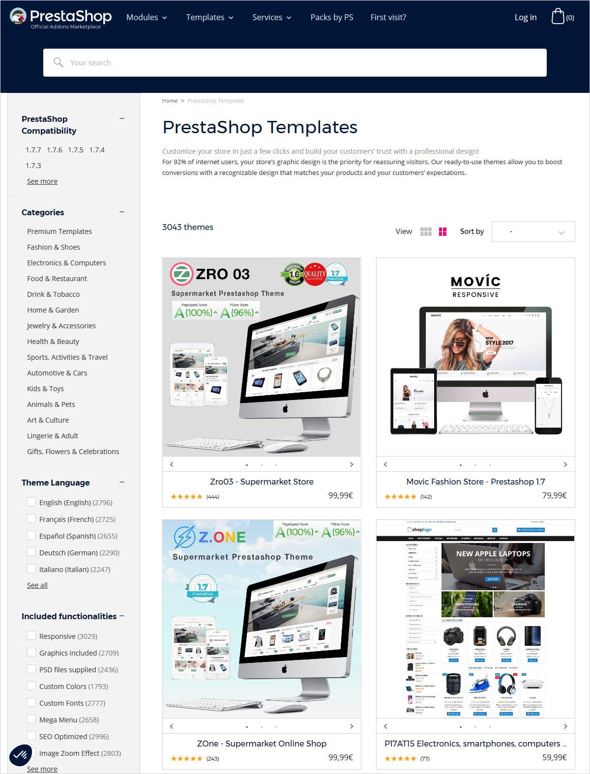 PrestaShop vs WooCommerce themes