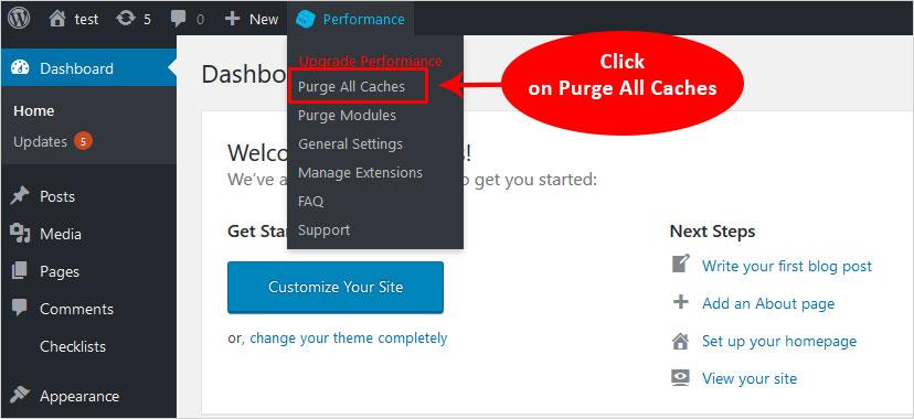 purge all cache using wp total cache plugin