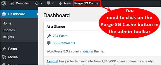 Delete WordPress cache in siteground
