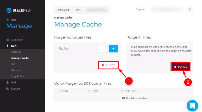 clear website cache using Stackpath