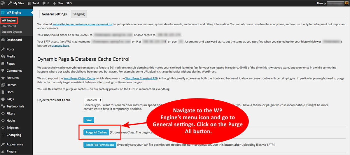 clear WordPress cache in Wp engine