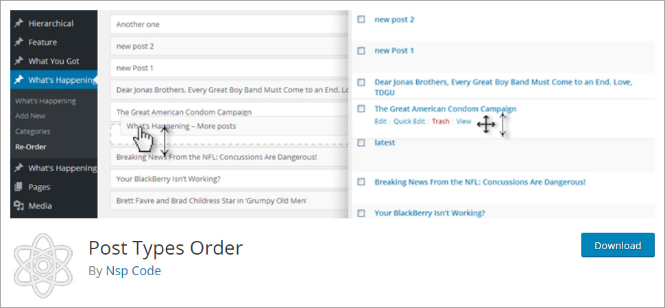 You can re order using Post Types Order plugin