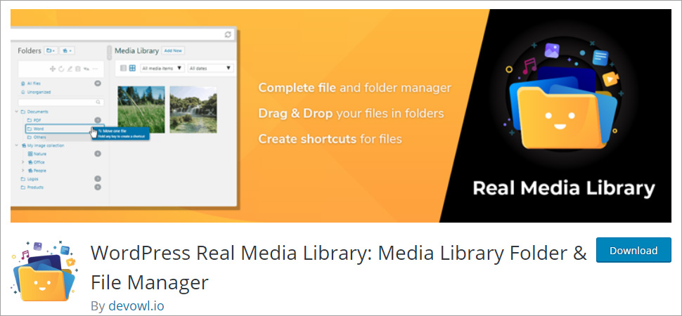 WordPress Real Media Library Media Library Folder & File Manager