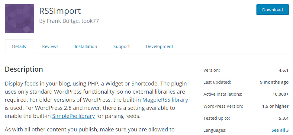 RSSImport WordPress rss feed plugin