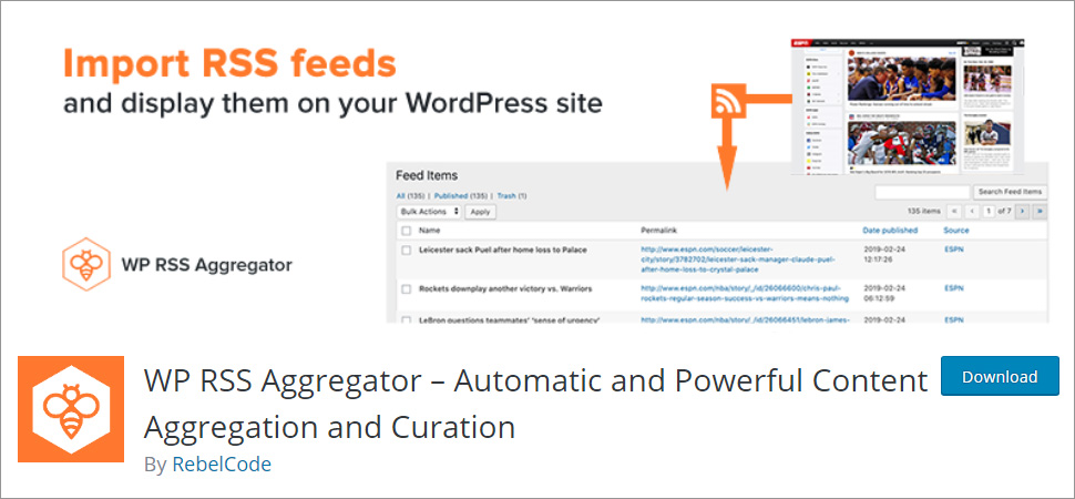 WordPress RSS feed plugin Aggregator