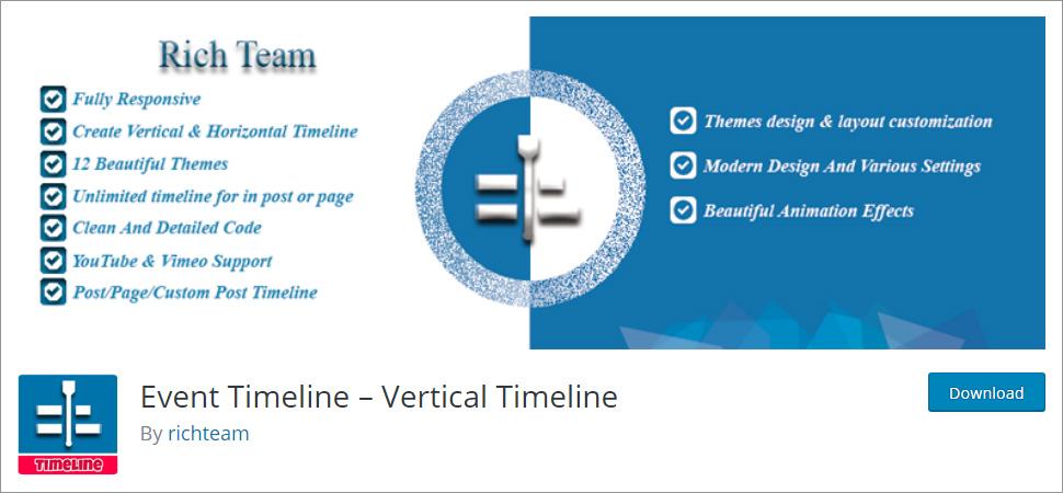 Event Timeline Vertical Timeline