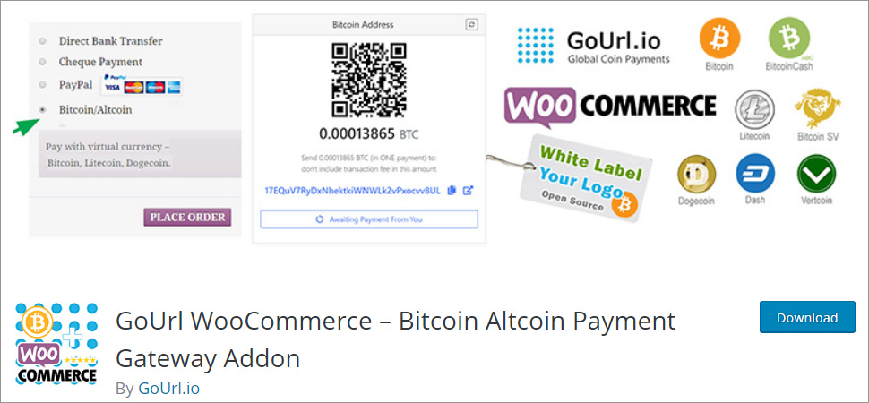 GoUrl WooCommerce Bitcoin Altcoin Payment Gateway Addon