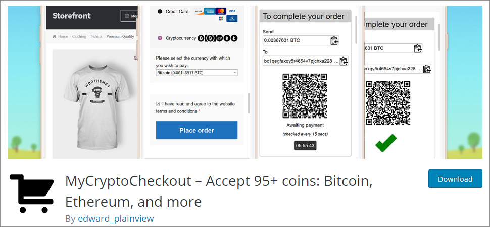 MyCryptoCheckout Accept 95+ coins Bitcoin Ethereum and more
