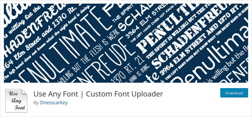 Use Any Font wordpress plugin