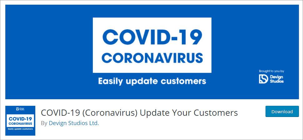 COVID 19 (Coronavirus) Update Your Customers