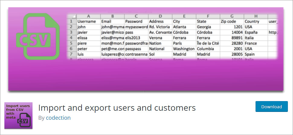 Import and export users and customers WordPress