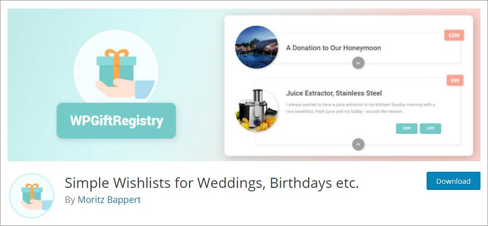 Simple Wishlists for Weddings, Birthdays etc