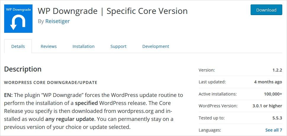Downgrade WordPress version