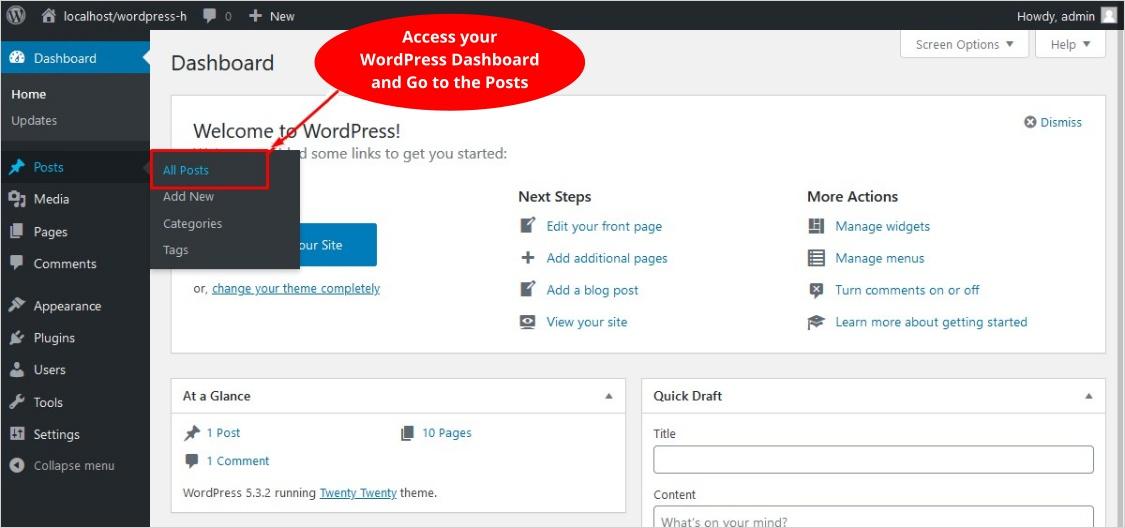 access your WordPress dashboard