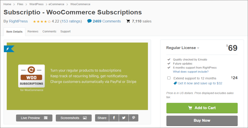 Subscriptio add to woocommerce