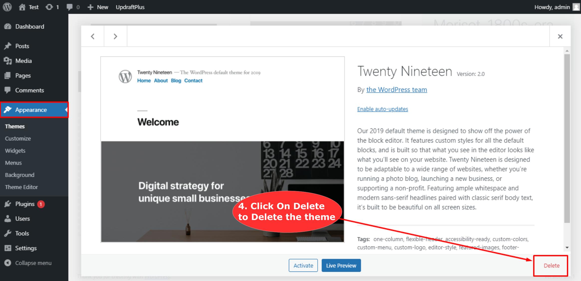 Delete Theme in WordPress