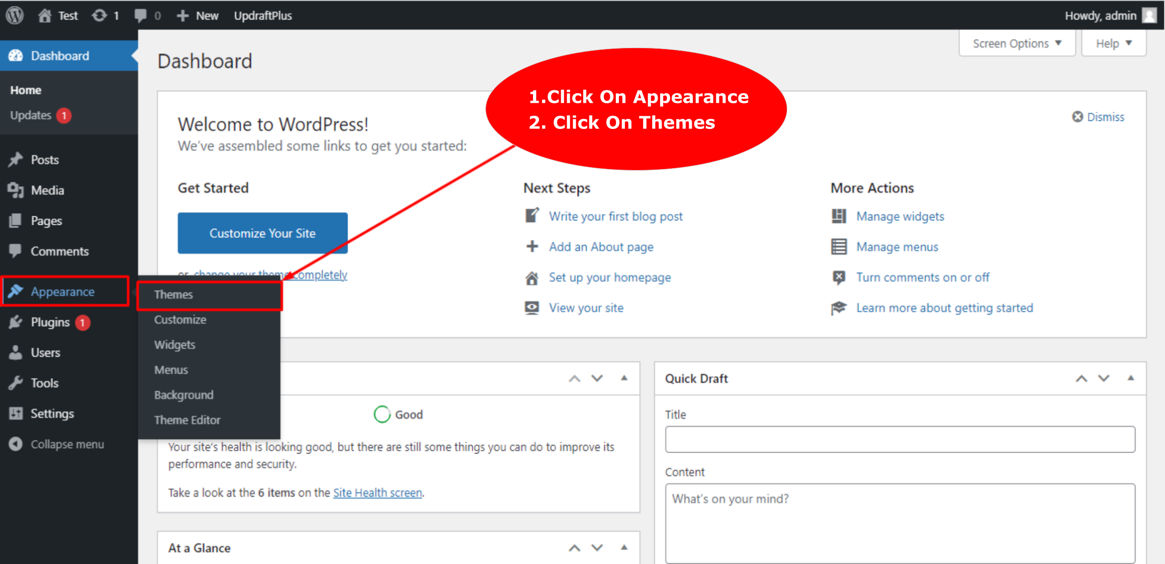 Go Your WordPress Dashboard
