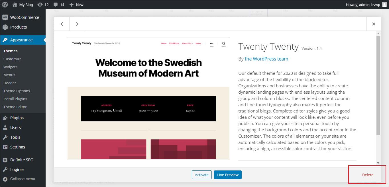 Steps to Delete a Theme in WordPress
