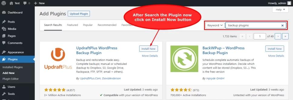 click the install WordPress plugin button