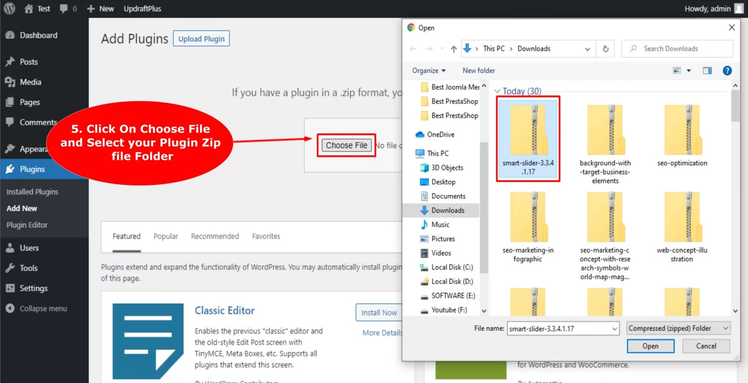 upload the WordPress plugin .zip file from your local storage